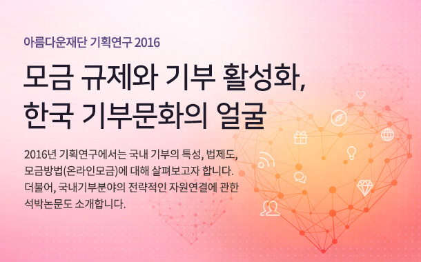 아름다운재단 기획연구 2016. 모금 규제와 기부 활성화,  한국 기부문화의 얼굴. 2016년 기획연구에서는 국내 기부의 특성, 법제도, 모금방법(온라인모금)에 대해 살펴보고자 합니다. 더불어, 국내기부분야의 전략적인 자원연결에 관한 석박논문도 소개합니다.